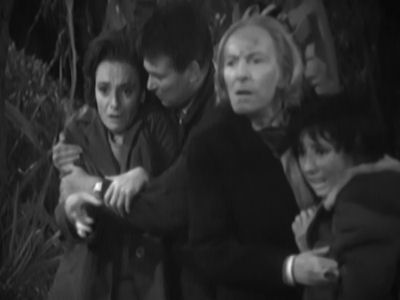 The Doctor and his companions in The Forest of Fear