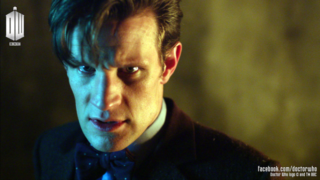 The Tenth Doctor looks menacingly.