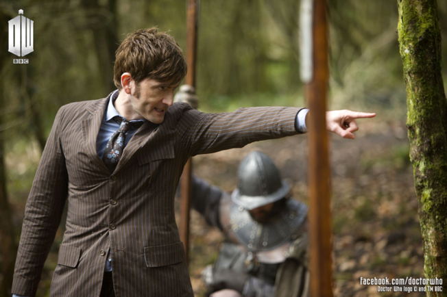 The Tenth Doctor, David Tennant in what appears to be a medieval setting