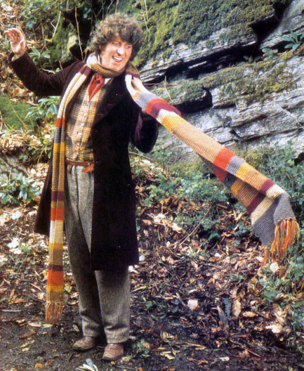 The Fourth Doctor with his famous knitted scarf