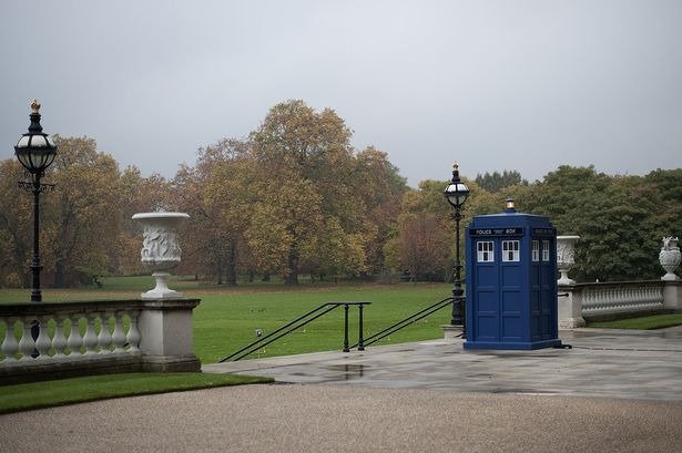The TARDIS outside Buckingham Palace