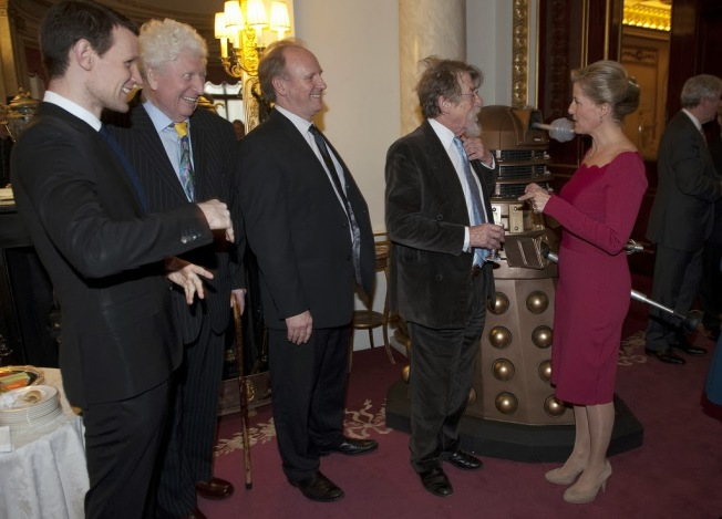 Four Doctors meet the Countess of Wessex - Matt Smith, Tom Baker, Peter Davison and John Hurt