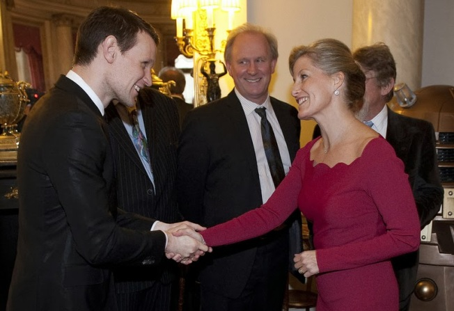 Matt Smith shakes hands with the Countess of Wessex