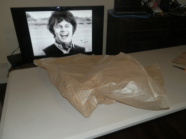 The fun starts when you need to wrestle with the wafer thin pattern paper.  Watching Doctor Who whilst sewing is highly recommended, although having Jamie McCrimmon laugh at your endeavours can at times be unnerving!