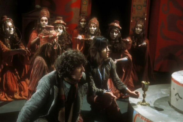 The Doctor, Sarah and members of the Sisterhood of Kahn in The Brain of Morbius