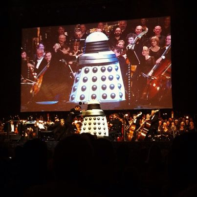 The Daleks emerge.  Photo courtesy of the Queensland Symphony Orchestra's Facebook page